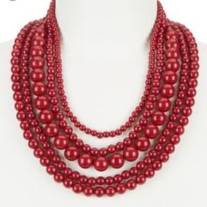 BaubleBar Multistrand Bead Statement Necklace Red